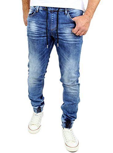 Reslad Jogg-Jeans Used Look Jeans-Herren Slim Fit Jogging-Hose RS-2073 Blau XL
