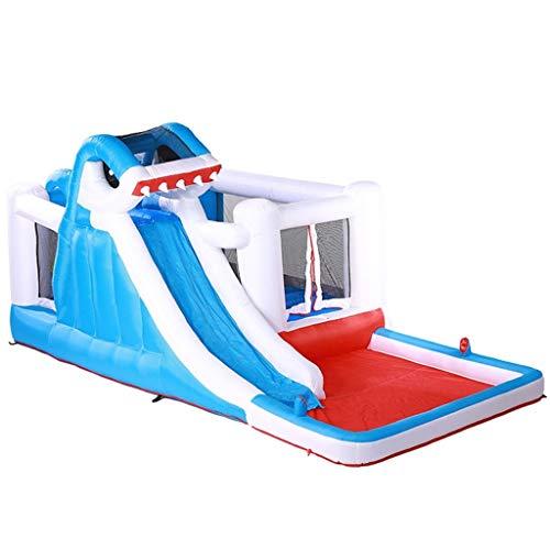 Bouncy Castles Inflatable castle trampoline home children water park outdoor large toy slide outdoor shark inflatable castle (Color : Blue, Size : 480 * 280 * 225CM)