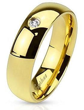 Bungsa® Hochzeitsring Gold mit Kristall Edelstahl Damen & Herren 49-70 (Fingerring Schmuckring Zirkonia Stein...