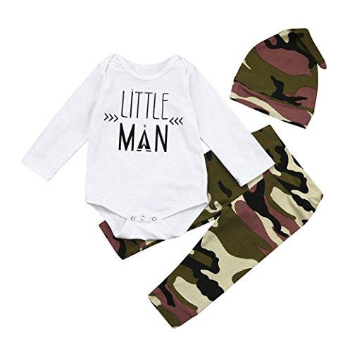 Neugeboren Säugling Baby Brief Spielanzug Tops + Camouflage Hose + Chic Hut 3 Stück Outfits Kleider Set übergang Kleid Outfit Dreiteiligen Anzug (100CM, Weiß) (Kleinkind Teufel Halloween-kostüm)
