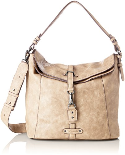 Tamaris Damen Bernadette Hobo Bag Schultertasche, Beige (Pepper), 14x30x32 cm (Flap Bag Hobo)