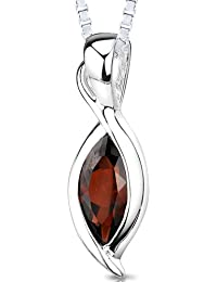 Revoni 1.25 Carats Marquise Cut Genuine Garnet Sterling Silver Pendant Necklace