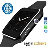 WELLTECH X6 Smartwatch Curve Display Bluetooth Smart Watch All 2G, 3G,4G Phone With Camera And Sim Card Support With Apps Like Facebook And WhatsApp Touch Screen Multilanguage Android/IOS With Activity Trackers And Fitness Band For Android And Ios Mobile