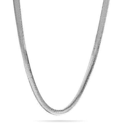 Bling Jewelry Cadena para Hombre 8mm Estilo Serpiente Acero Inoxidable Chapado en Plata 20 Pulgadas