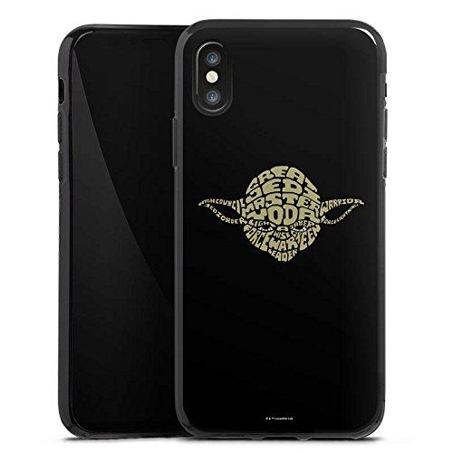 Apple iPhone 4s Hülle Premium Case Cover Star Wars Merchandise Fanartikel Yoda Typo Silikon Case schwarz