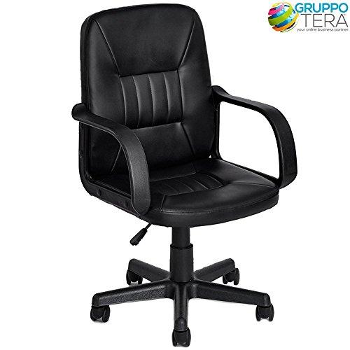 Bakaji poltrona direzionale sedia da ufficio girevole in ecopelle altezza regolabile con ruote colore nero