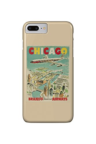 Braniff International Airways - Chicago Vintage Poster c. 1950 (iPhone 7 Plus Cell Phone Case, Slim Barely There)