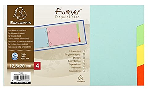 Intercalaires pour fiches bristol carte 180g forever 4 positions -