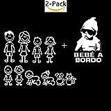 Legna Desings Kit Paquete Familia de 10 + Pegatina Bebe a Bordo Molon para el Coche (Familia de 10 + Bebe Molon)