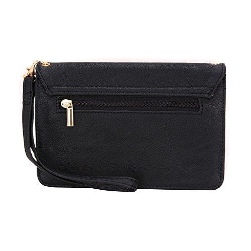 conze de femmes d'embrayage portefeuille tout ce sac avec bretelles pour Smart Téléphone pour Huawei Ascend G64G/P7Mini gris noir