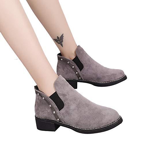 Stiefel Damen Boots Wildleder Stiefeletten Mode Frauen Nieten Flache Schuhe Martain Stiefel Runde Kappe Schuhe Freizeitschuhe Winterstiefel ABsoar