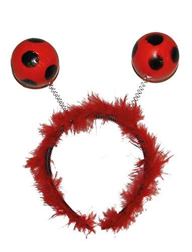 Halloweenia - Kostüm Accessoires Zubehör Alien Haarreif mit Kugeln im Marienkäfer Fußball Look, Diadem Ladybug, perfekt für Karneval, Fasching und Fastnacht, Rot