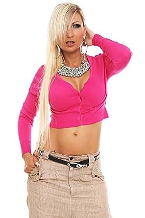10102 Fashion4Young Damen Feinstrick-Bolero V-Ausschnitt Jacke Jäckchen verfügbar in 13 Farben Gr. 34/36/38 (One Size (34 36 38), Pink)