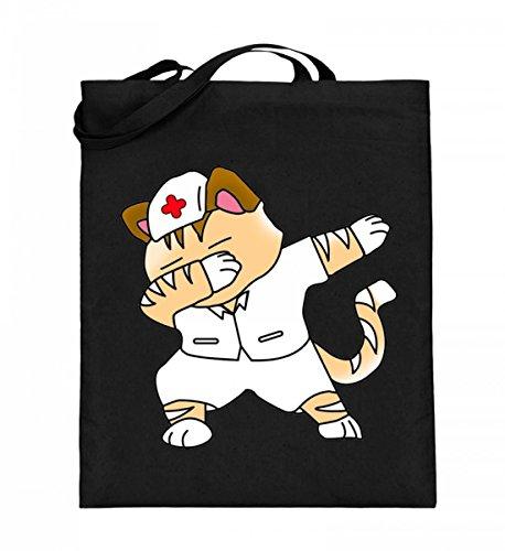 Dabbing Cat Katze Nurse Krankenschwester Krankenpfleger - Schlichtes Und Witziges Design - Jutebeutel (mit langen ()