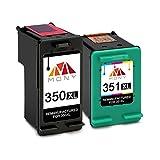 Mony - Cartucce d'inchiostro rigenerate di ricambio per HP 350 351 XL 350XL 351XL (nero e tricolore) utilizzate nelle stampanti HP