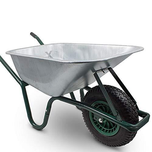 BITUXX® Schubkarre 100L Schubkarren Schiebkarre Bauschubkarre Verzinkt mit Luftreifen bis 250kg - 2