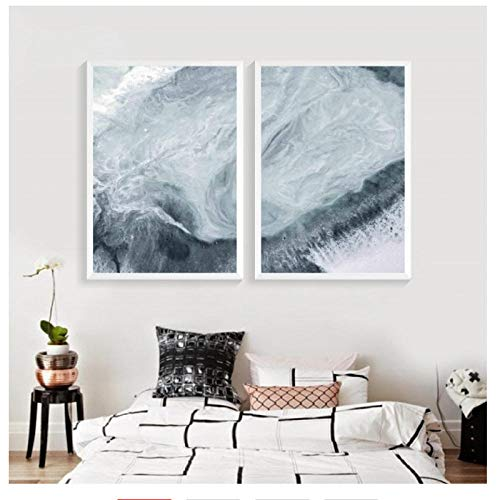ints Marmor Abstrakte Aqua Grün Wasser Strand Meer Küste Poster Leinwand Malerei Wandbilder Home Room Decor 50 * 70 cm Kein Rahmen ()