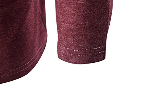 Whatlees Unisex Hip Hop Urban Basic Lang geschnittene Schlichte Strickjacke Cardigan in Versch. Farben B204-Red