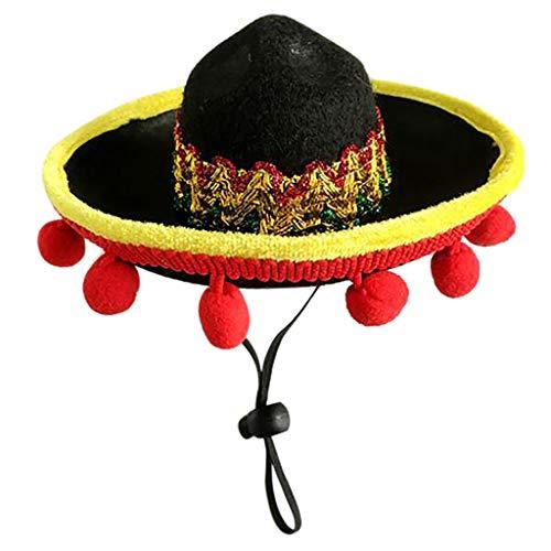 QIjinlook Haustier Sommer Hut - Kostüm Party Deko - Sommer Caps für Katzen & Hunde - Strand Stroh Hüte - Mini Sombrero Party Hut - Nette justierbare (A)