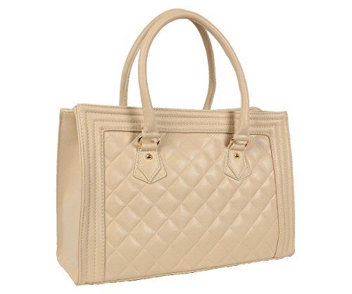 Designer Italienische Tasche Leder Handbag gesteppte Echtledertasche Handtasche Schultertasche City Shopper Kellystyle Italy Tote Bag Creme Beige (Leder Chanel Handtaschen)