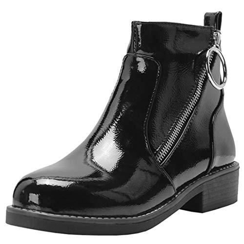 Artfaerie Damen Flache Stiefeletten mit Reißverschluss Lack Ankle Boots  Bequem Warm Winter Schuhe (EU 38,Schwarz) 6d37f00e5d
