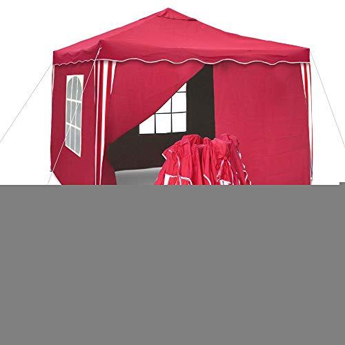 JOM Tente Sylt II de réception pliante 3 x 3 m, Rouge/Blanc, Les parois latérales équipées de 2 fenêtres / paroi ouvrable / paroi fermée - Matière de la toile Oxford 200D enduit PVC coté intérieur, imperméable waterproof