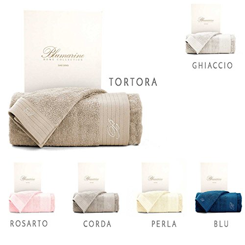 Blumarine set asciugamani spugna con strass ospite + viso crociera (perla)