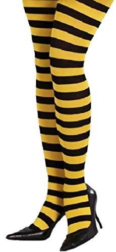 Fiestas Guirca Damen Strumpfhose Schwarz Gelb quer geringelt Einheitsgröße 36 bis 40