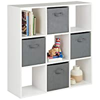 Hartleys White 9 Cube Shelving Unit & 4 Grey Storage Drawers