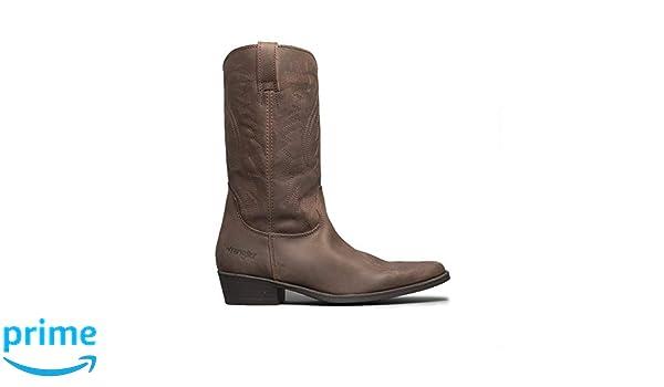 0eb543b231c34 Wrangler Texas II HI Mens Leather Calf Length Cowboy Boots Dark Brown UK 9   Amazon.co.uk  Shoes   Bags