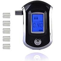 fenguh LCD Digital de la Respiraci/ón del Alcohol Probador Analizador Detector Alcohol/ímetro Llavero de Prueba con 5 Boquilla