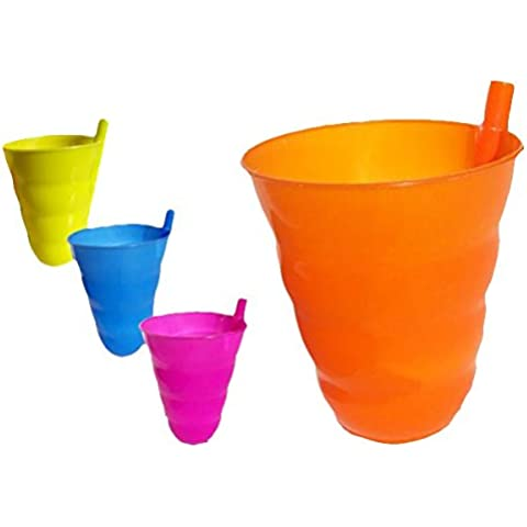 takestop® SET 6 BICCHIERE BICCHIERI CON CANNUCCIA INTEGRATA COLORATI PER FESTE POOL PARTY DRINK BIBITE SUMMER colori casuale
