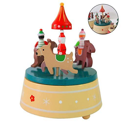 Holzspieluhr Fantasy rotierenden Xmas Music Box dekorative Geschenk Spielzeug for Kinder, Freunde, Familie (Color : Carousel) ()