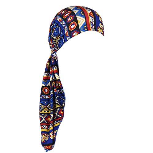 URSING Damen Baumwolle Kopftuch Bandana Hat Fur Haarverlust Frauen Indien Muslim Elastic Turban Chiffon Drucken Long Tail Hut Kopftuch Wrap Kopfbedeckung Schal Mützen Headscarf