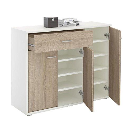 CARO-Möbel Schuhschrank DEUSTO Schuhregal Schuhkommode mit 1 Schublade und 3 Türen in Weiß/Sonoma Eiche