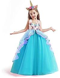 TTYAOVO Chicas Unicornio Fancy Vestido Princesa Flor Desfile de Niños Vestidos sin Mangas Volantes Vestido de Fiesta