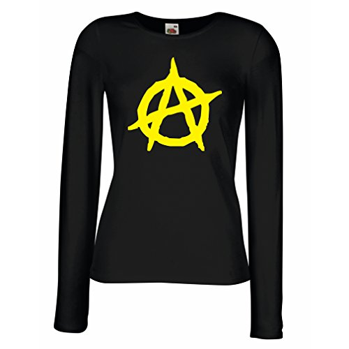 lepni.me Manches Longues Femme T-Shirt Symbolisme anarchiste, Conception Politique anarchisme, Symbole de LAnarchie Noir Jaune