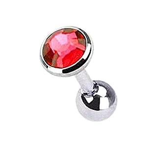 Taffstyle® Tragus Piercing mit eingefassten Kristall / Rot - 4mm