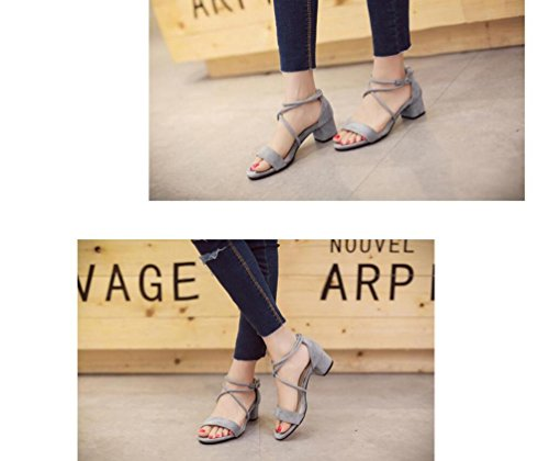 OL Sweet Cross Straps Sandalen Scrub Gürtel Dekoration Chunky High Heel Open Toe Hollow Casual Frauen Schuhe EU Größe 35-39 Grey