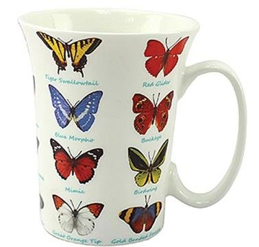 Butterfly Lovers Multi Butterfly Design Fluted Fine China Mug in a Gift Box by The Leonardo Collection Blue Fluted China