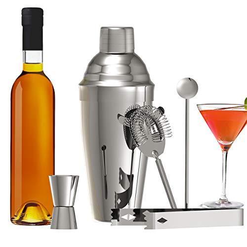 METALBAY Cocktailset, Cocktailshaker Cocktailgläser Edelstahl Bar enthält mit Cocktail Shaker Mixer + Cocktail Messbecher + Cocktail Sieb + Eiszange + Löffel