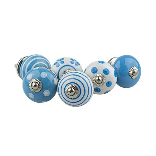 Möbelknopf Möbelknauf Möbelgriff 6er Set 082GN Punkte Kreise Tupfer Weiß Blau - Jay Knopf Keramik Porzellan handbemalte Vintage Möbelknöpfe für Schrank, Schublade, Kommode, Tür -