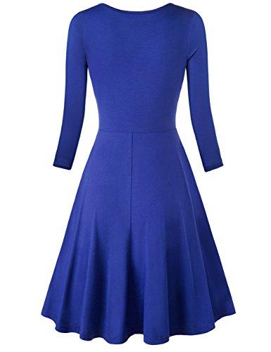 WAJAT Damen Wickelkleid A-Line V-Ausschnitt Casual Vintage Elegante Kleider Langarm-Blau