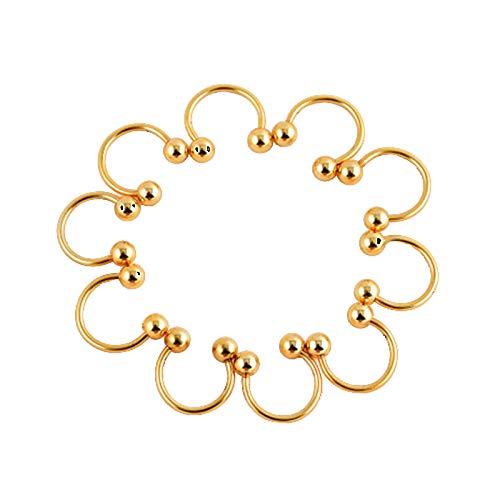 Amody 10Pcs Damen Nasenringe Gold 10MM U Form mit Beet Body Piercing Schmuck Nasenpiercingschmuck Edelstahl CZ Nose Hoop Ring