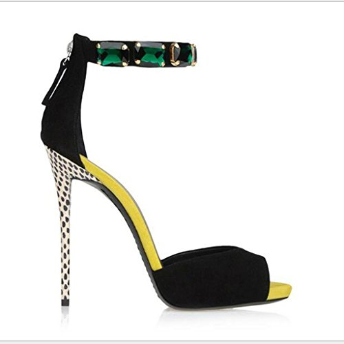 W&LM Ms High heels Sandals This is good Waterproof platform Sandals Fish mouth Shallow mouth Sandals Black