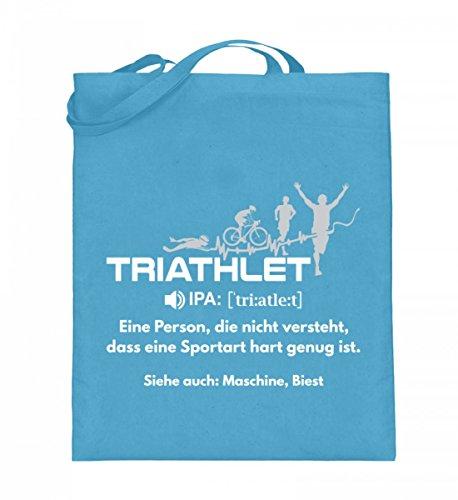 Hochwertiger Jutebeutel (mit langen Henkeln) - Triathlon - Triathlet Wörterbuch Hellblau