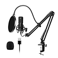 Festnight USB Microphone Kit 192KHZ/24BIT Professional Podcast Condenser Mic for PC Karaoke Studio Recording Mic Kit with Sound Card