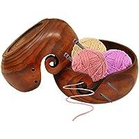 Prokth® - Cuenco de hilo de madera para tejer ganchillo, organizador de cuenco de almacenamiento de lana ecológico, madera, 18-20 cm
