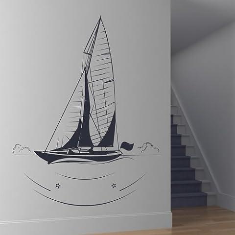Contorno de Barco de Vela Pegatinas de Pared. Arte de Pared Barco disponible en 5 tamaños y 25 colores Pequeño Cuero marrón
