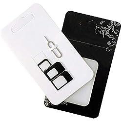 Adaptateurs de Carte SIM, AIUIN Cartes Sim Adaptateur Noir pour iPhone X 8/8 Plus / 7/7 Plus/6S/6s Plus/5S/5C/SE, Samsung Galaxy S7/S7 Edge/S6 Edge, LG G5, GPS et Les Autres Smartphone